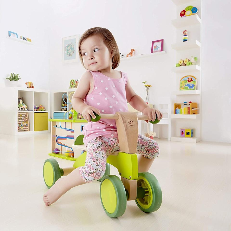 """It'llbe easy on your floors as your toddler develops motor skills as well as strength and balance.<br /><br /><strong>Promising review:</strong>""""This is the perfect scooter for a 1- to 3-year-old.<strong>When my son was learning to stand/walk, he'd use this as a walker by grabbing the handles and pushing it around.</strong>Sometimes he'd push from the back and scoot on his knees. He learned how to get on and off by himself after a year old. Now he can scoot. Pretty soon (When his legs grow a little longer) he'll get the idea and can really go!"""" --<a href=""""https://www.amazon.com/dp/B00BHEEHP2?tag=huffpost-bfsyndication-20&ascsubtag=5709944%2C29%2C32%2Cd%2C0%2C0%2C0%2C962%3A1%3B901%3A2%3B900%3A2%3B974%3A3%3B975%3A2%3B982%3A2%2C13752243%2C0"""" target=""""_blank"""" rel=""""noopener noreferrer"""">Muffin</a><br /><br /><strong>Get it from Amazon for <a href=""""https://www.amazon.com/dp/B00BHEEHP2?tag=huffpost-bfsyndication-20&ascsubtag=5709944%2C29%2C32%2Cd%2C0%2C0%2C0%2C962%3A1%3B901%3A2%3B900%3A2%3B974%3A3%3B975%3A2%3B982%3A2%2C13752243%2C0"""" target=""""_blank"""" rel=""""noopener noreferrer"""">$55.98</a>.</strong>"""