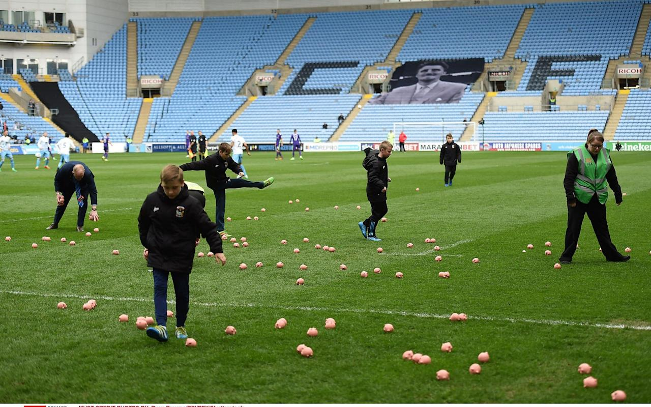 Coventry's League One match against Charlton held up by protesters' plastic pig protest