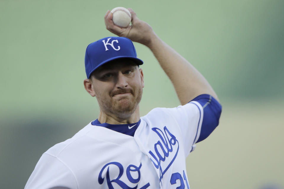 Kansas City Royals pitcher Mike Montgomery throws during the first inning of the team's baseball game against the Houston Astros on wSaturday, Sept. 14, 2019, in Kansas City, Mo. (AP Photo/Charlie Riedel)