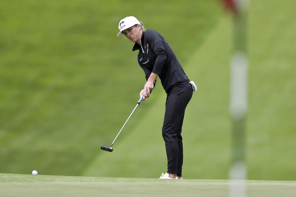 Mel Reid, of England, putts on the sixth green during the first round of the U.S. Women's Open golf tournament at The Olympic Club, Thursday, June 3, 2021, in San Francisco. (AP Photo/Jed Jacobsohn)