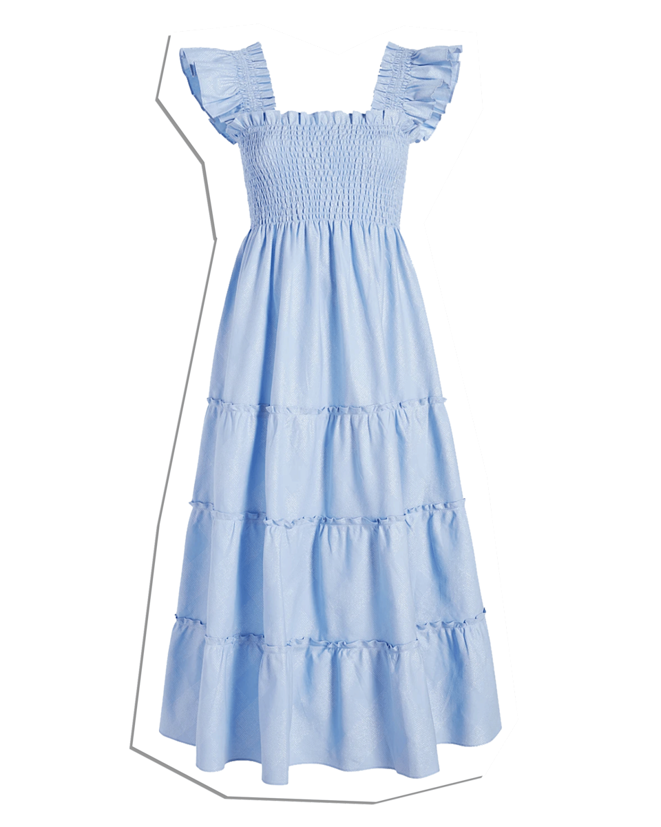 """$125, Hill House Home. <a href=""""https://www.hillhousehome.com/products/the-ellie-nap-dress-light-blue-glitter-check?variant=33029610897451#Image16815066742827"""" rel=""""nofollow noopener"""" target=""""_blank"""" data-ylk=""""slk:Get it now!"""" class=""""link rapid-noclick-resp"""">Get it now!</a>"""