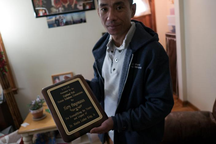 Harry Pangemanan with the 2018 Dr. Martin Luther King Jr. Humanitarian Award for the rebuilding work he did on the Jersey shore after Hurricane Sandy. (Photo: Alan Chin for Yahoo News)