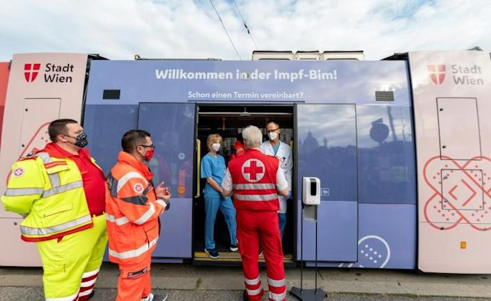 The Viennese are being urged to either register for a spot on the tram or to head to one of several health centres and around 600 doctors' offices where the vaccine is being administered.