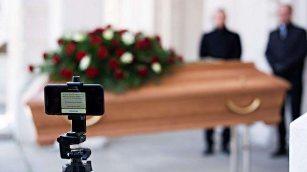 PHOTO: Employees of Bestattung Himmelblau undertakers rehearse livestreaming an upcoming funeral, on March 24, 2020 ,in Vienna, Austria. (Thomas Kronsteiner/Getty Images)