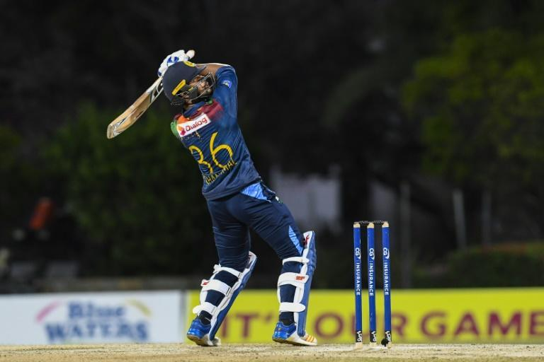 On the attack: Dinesh Chandimal on his way to a half century on Sunday