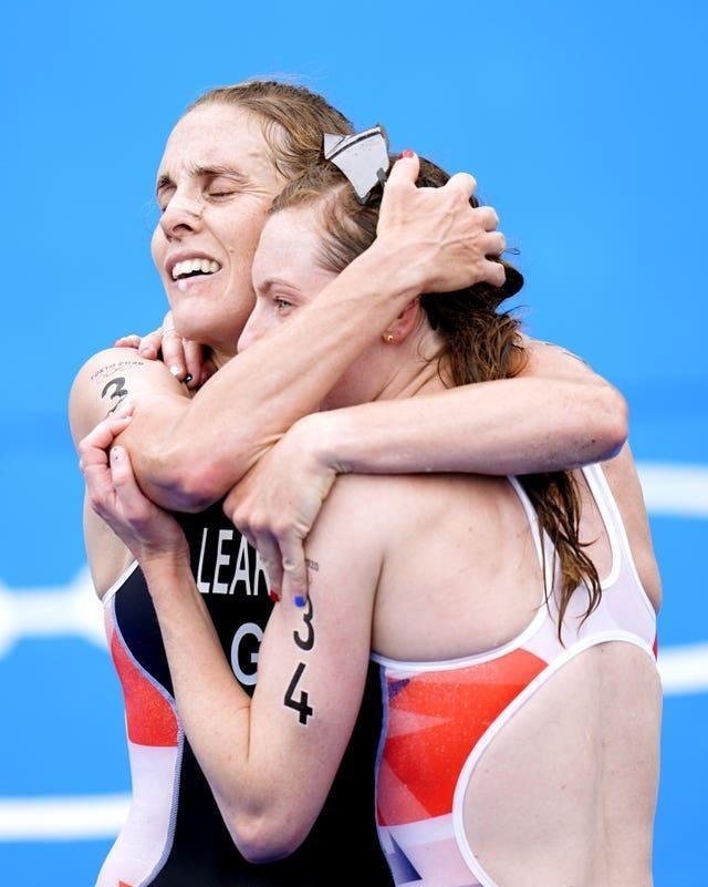 Georgia Taylor-Brown (right) is congratulated by Jess Learmonth
