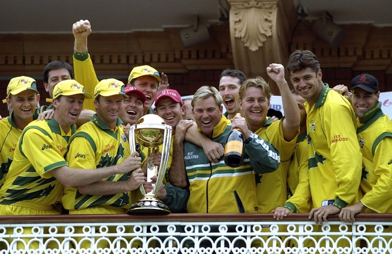 20 Jun 1999:  Australia celebrate with the trophy after victory over Pakistan in the Cricket World Cup Final at Lord's in London. Australia won by 8 wickets. \ Mandatory Credit: Adrian Murrell /Allsport