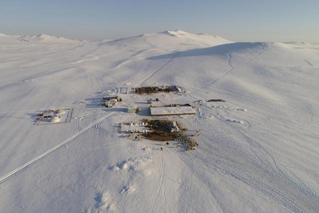 <p>Aerial view shows the nomad camp of farmer Tanzurun Darisyu in the Kara-Charyaa area south of Kyzyl town, the administrative center of the Republic of Tuva (Tyva region) in southern Siberia, Russia, on Feb. 14, 2018. (Photo: Ilya Naymushin/Reuters) </p>