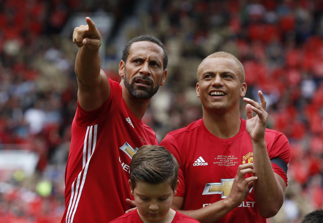 Manchester United '08 XI's Wes Brown and Rio Ferdinand before the match