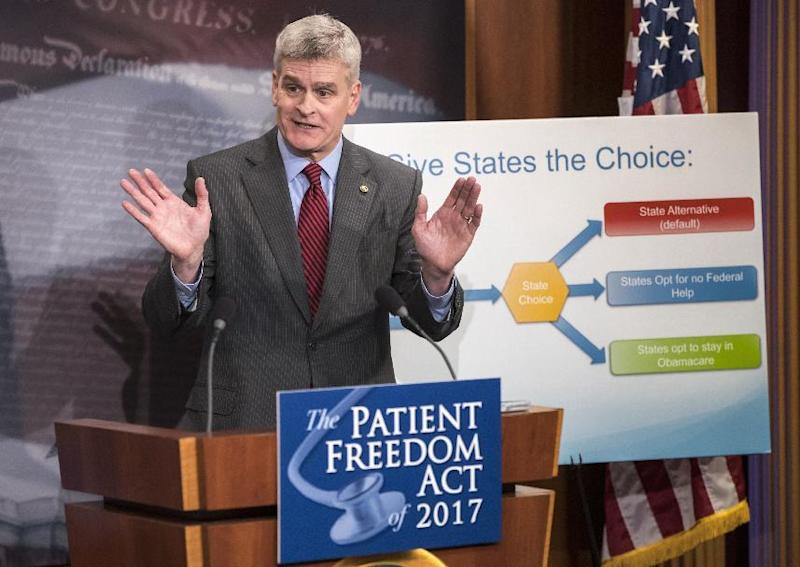 FILE - In this Jan. 23, 2017 file photo, Sen. Bill Cassidy, R-La. speaks during a news conference on Capitol Hill in Washington. Republicans insisted Monday, Feb. 6, 2017, that they're moving ahead on their effort to void the health care law, even as President Donald Trump's latest remarks conceded that the effort could well stretch into next year. (AP Photo/J. Scott Applewhite, File)
