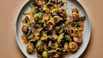 "These roasted brussels sprouts get a fair amount of spice from the crushed red pepper flakes, which cuts through the acidity and sweetness of the glaze, but if you're spice-averse, feel free to leave them out! <a href=""https://www.bonappetit.com/recipe/roasted-brussels-sprouts-with-warm-honey-glaze?mbid=synd_yahoo_rss"" rel=""nofollow noopener"" target=""_blank"" data-ylk=""slk:See recipe."" class=""link rapid-noclick-resp"">See recipe.</a>"