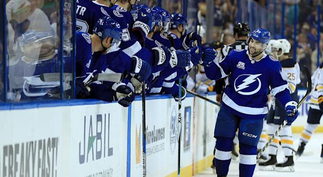 "The <a class=""link rapid-noclick-resp"" href=""/nhl/teams/tam/"" data-ylk=""slk:Tampa Bay Lightning"">Tampa Bay Lightning</a> are miles ahead of the middle-of-the-road teams in the East. (Getty)"