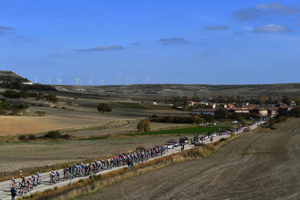 AGUILAR DE CAMPOO SPAIN  OCTOBER 29 Las Quintanillas Village  Peloton  Landscape  Fans  Public  during the 75th Tour of Spain 2020 Stage 9 a 1577km stage from Cid Campeador Military Base Castrillo del Val to Aguilar de Campoo  lavuelta  LaVuelta20  on October 29 2020 in Aguilar de Campoo Spain Photo by Justin SetterfieldGetty Images