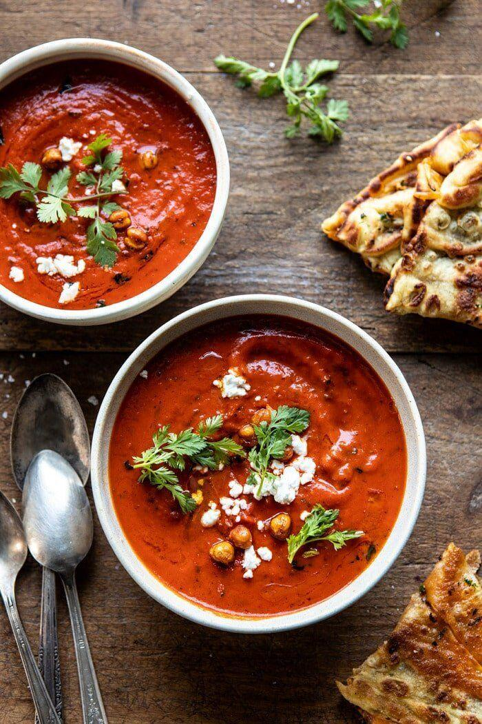 """<strong><a href=""""https://www.halfbakedharvest.com/creamy-moroccan-tomato-soup/"""" target=""""_blank"""" rel=""""noopener noreferrer"""">Get theCreamy Moroccan Tomato Soup recipe from Half Baked Harvest</a></strong>"""