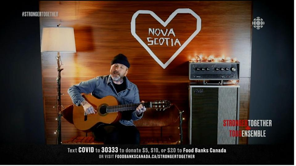 "Dallas Green of City and Colour performing ""We Found Each Other in the Dark"" with a tribute to Nova Scotia, during the ""Stronger Together"" fundraiser, Apr. 26, 2020. (Photo: Screenshot / Stronger Together via CBC)"