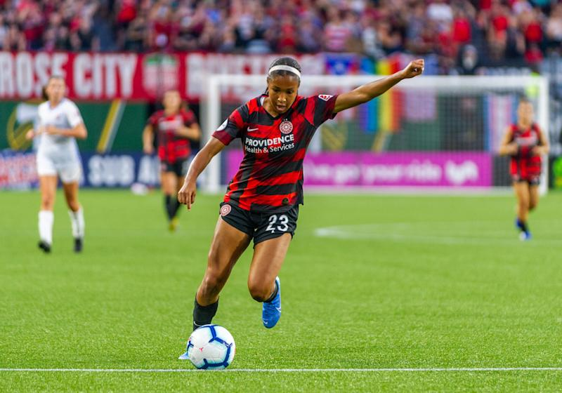 PORTLAND, OR - AUGUST 03: Portland Thorns forward Midge Purce takes a shot on goal during the 1-1 tie between the Portland Thorns and Sky Blue FC at Providence Park on August 3, 2019, in Portland, OR (Photo by Diego Diaz/Icon Sportswire via Getty Images).