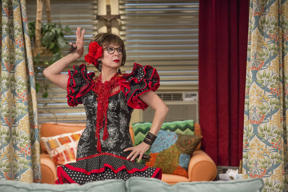 """This image released by Netflix shows Rita Moreno in a scene from """"One Day At A Time."""" The program was nominated for a GLAAD Media Award for outstanding comedy series. (Michael Yarish/Netflix via AP)"""