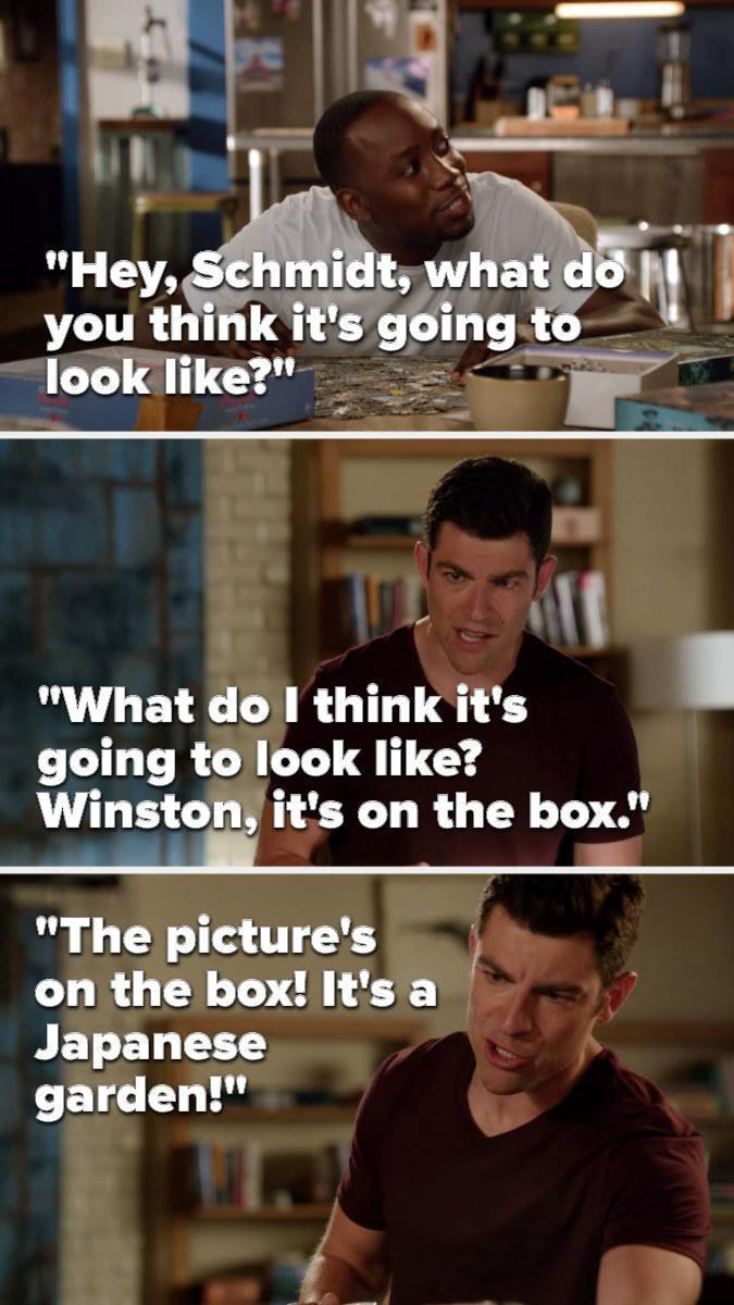 Winston, while doing a puzzle, asks, Hey, Schmidt, what do you think it's going to look like, to which Schmidt says, What do I think it's going to look like, Winston, it's on the box, the picture's on the box, it's a Japanese garden