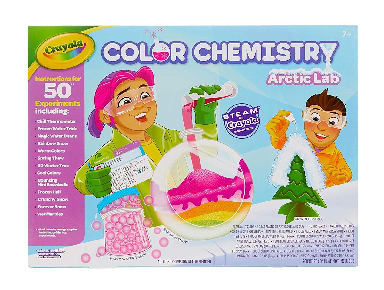 """<p>In the <a href=""""https://www.popsugar.com/buy/Color%20Chemistry%20Arctic%20Lab-454588?p_name=Color%20Chemistry%20Arctic%20Lab&retailer=amazon.com&price=25&evar1=moms%3Aus&evar9=45804853&evar98=https%3A%2F%2Fwww.popsugar.com%2Ffamily%2Fphoto-gallery%2F45804853%2Fimage%2F45805265%2FColor-Chemistry-Arctic-Lab&list1=toys%2Ctoy%20fair%2Ckids%20toys%2Cbest%20of%202019&prop13=api&pdata=1"""" rel=""""nofollow"""" data-shoppable-link=""""1"""" target=""""_blank"""" class=""""ga-track"""" data-ga-category=""""Related"""" data-ga-label=""""https://www.amazon.com/Crayola-Artic-Chemistry-Activities-Educational/dp/B07MFW6Y1R"""" data-ga-action=""""In-Line Links"""">Color Chemistry Arctic Lab</a> ($25), kids can do 50 Winter-themed experiments.</p>"""