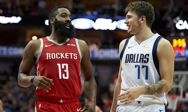 "<span class=""element-image__caption""><a class=""link rapid-noclick-resp"" href=""/nba/players/6014/"" data-ylk=""slk:Luka Doncic"">Luka Doncic</a> (right) may well end up joining James Harden as an All-Star. </span> <span class=""element-image__credit"">Photograph: Cooper Neill/AP</span>"
