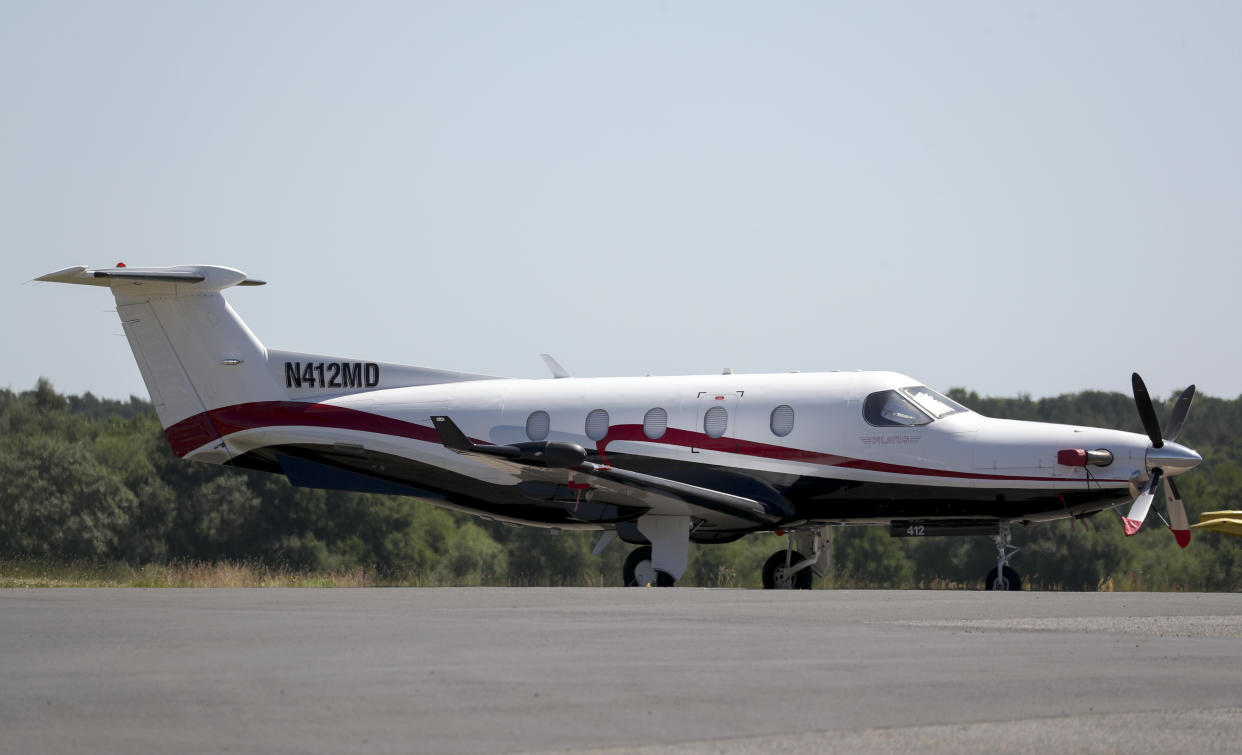 "The Pilatus PC12 plane which took off from Fairoaks airfield in Surrey before flying to north Wales where the pilot landed without permission on a closed military runway at RAF Valley ""because he wanted to go to the beach"". (Photo by Steve Parsons/PA Images via Getty Images)"