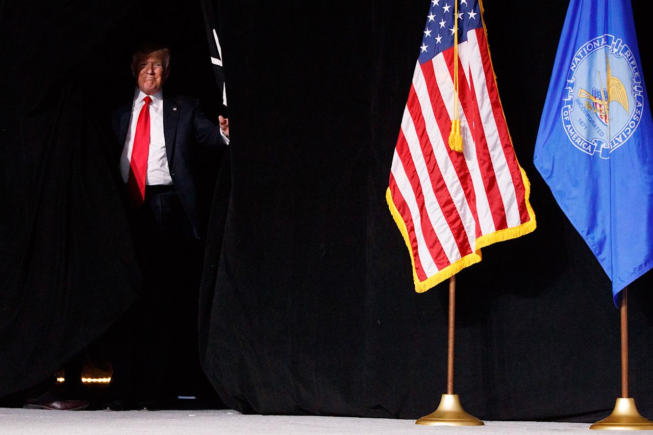 <p>President Trump arrives to speak at the National Rifle Association Leadership Conference, Friday, April 28, 2017, in Atlanta. (AP Photo/Evan Vucci) </p>