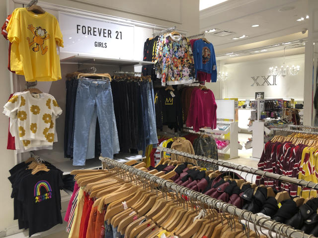 A Forever 21 store is shown, Monday, Sept. 30, 2019, in Aventura, Fla. The low-price fashion chain, a one-time hot destination for teen shoppers that fell victim to its own rapid expansion and changing consumer tastes, has filed for Chapter 11 bankruptcy protection. (AP Photo/Wilfredo Lee)
