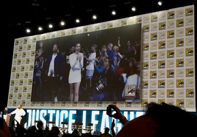 Ben Affleck and Gal Gadot enter Hall H at Comic-Con (Photo: Marcus Errico/Yahoo Movies)