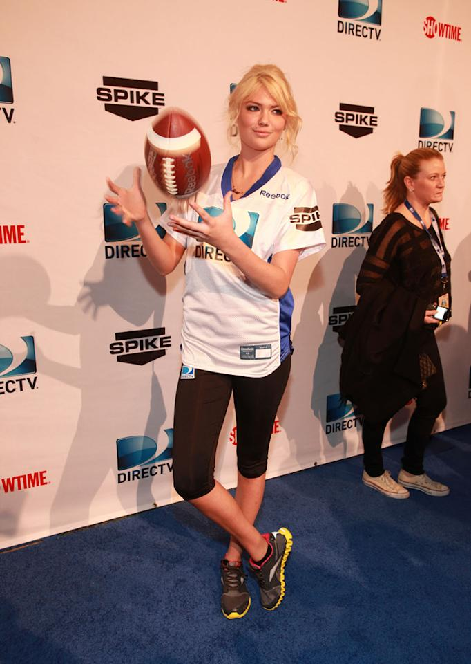 Sports Illustrated model Kate Upton arrives at the DirecTV Celebrity Beach Bowl in Indianapolis.
