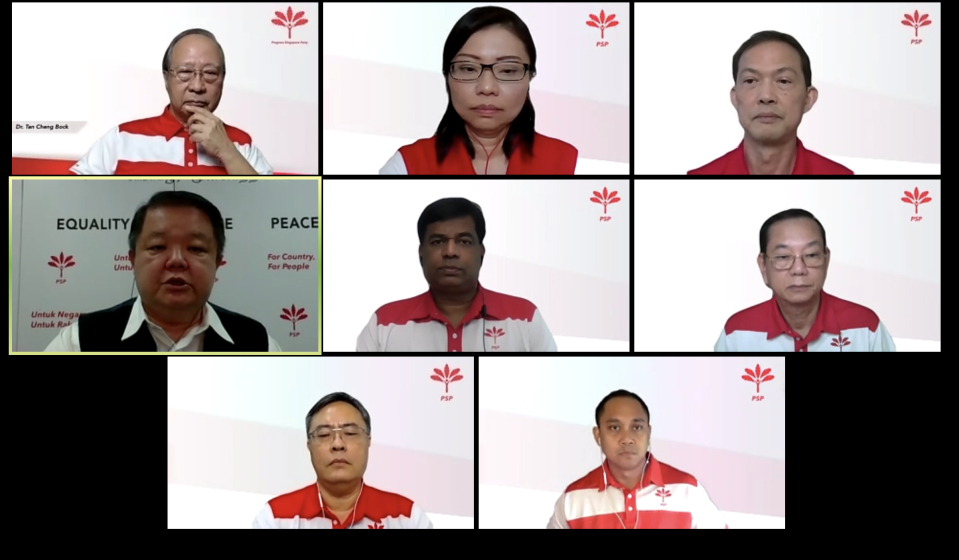 The Progress Singapore Party Zoom panellists for the launch of the party's manifesto. From top left: secretary-general Tan Cheng Bock, vice chairman Hazel Poa, assistant secretary-general Leong Mun Wai, host Craig Teo, Kumaran Pillai, Francis Yuen, organising secretary Michael Chua, Muhammad Taufik Supan. (PHOTO: Screenshot of PSP press conference)