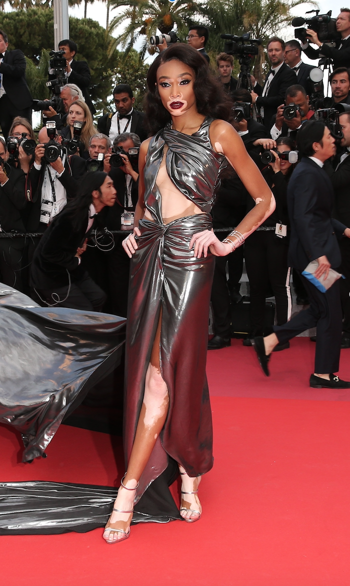 <p>The model attended the screening of 'Solo: A Star Wars Story' wearing custom design by Lebanese designer Jean Louis Sabaji which featured an enormous train. [Photo: Getty] </p>