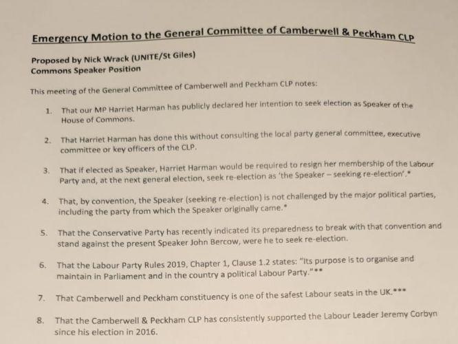 Harriet Harman motion passed by her local party (Photo: )