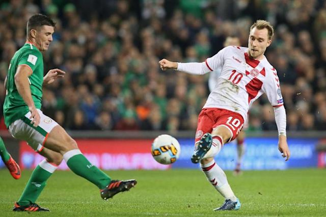 Denmark's midfielder Christian Eriksen (R) shoots to score a goal during the FIFA World Cup 2018 qualifying football match against Ireland November 14, 2017 (AFP Photo/Paul FAITH)