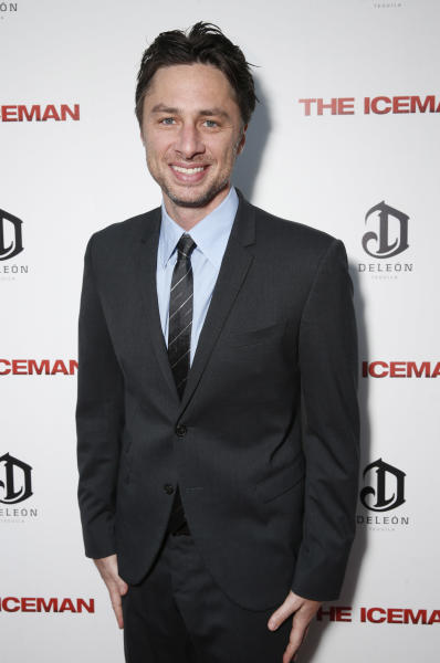 "This April 22, 2013 file photo provided by Millennium shows actor Zach Braff at the DeLeon Tequila special screening of ""The Iceman"" at the Arclight in Los Angeles. In the wake of the enormously successful ""Veronica Mars"" Kickstarter campaign, Zach Braff is turning to crowd-funding to help realize a goal he's had since his 2004 film ""Garden State"": make another movie. The ""Scrubs"" star on Wednesday, April 22, 2013 launched a campaign to raise $2 million from fans on Kickstarter. (AP Photo/ Millennium, Todd Williamson)"