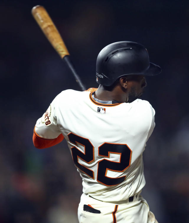 San Francisco Giants' Andrew McCutchen swings for the game-winning hit off Arizona Diamondbacks' Jorge De La Rosa during the ninth inning of a baseball game, Tuesday, April 10, 2018, in San Francisco. The Giants won 5-4. (AP Photo/Ben Margot)