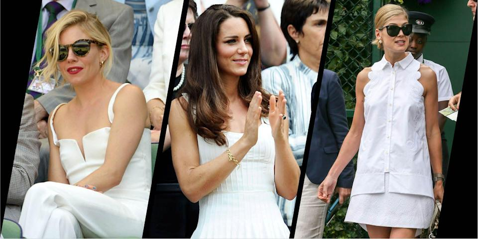 """<p>There is just something about Wimbledon style. The tennis tournament, which is always one of the most highly anticipated events in the British summertime calendar, is returning this week after a one-year hiatus, and will no doubt give us some fantastic fashion moments as the A-listers start to descend on SW19.</p><p>The English tennis championship is renowned for its courtside style, which often sees royals and celebrities cheering on the players from the stands, and always delivering when it comes to fashion. Although there is no strict dress code for the spectators (<a href=""""https://www.harpersbazaar.com/uk/fashion/style-files/g22470/how-wimbledon-fashion-has-changed/"""" rel=""""nofollow noopener"""" target=""""_blank"""" data-ylk=""""slk:unlike on the court, where the players have to wear white"""" class=""""link rapid-noclick-resp"""">unlike on the court, where the players have to wear white</a>), there tends to be a smart/casual approach to the occasion with dresses, hats and tailoring often taking centre stage on centre court.</p><p>Here, we round up 40 of our favourite celebrity style moments in Wimbledon history. Scroll through to look back over some of these memorable ensembles spotted in the stands over the years, from the likes of Princess Diana and Princess Anne to the Duchess of Cambridge, Sienna Miller, Alexa Chung and Karlie Kloss. </p><p>From royals in Wimbledon white to actresses, singers and models putting their spin on courtside style, there is plenty of inspiration here for your next trip to the tennis. </p>"""