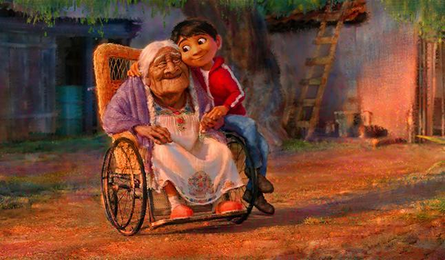 Young Miguel with his great-great-grandmother Imelda in artwork for 'Coco'. (Credit: Pixar)