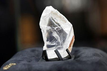 FILE PHOTO --  Jewellery company de Grisogono displays the Constellation rough diamond, measuring over six centimetres wide during a news conference in Paris, France, September 9, 2016. REUTERS/Charles Platiau/File Photo