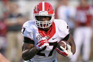 Nick Chubb has 345 rushing yards in Georgia's last two games without Todd Gurley. (USA Today)
