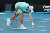 Canada's Denis Shapovalov argues about a line call in Melbourne - despite fully automatic calling being employed at this year's Australian Open