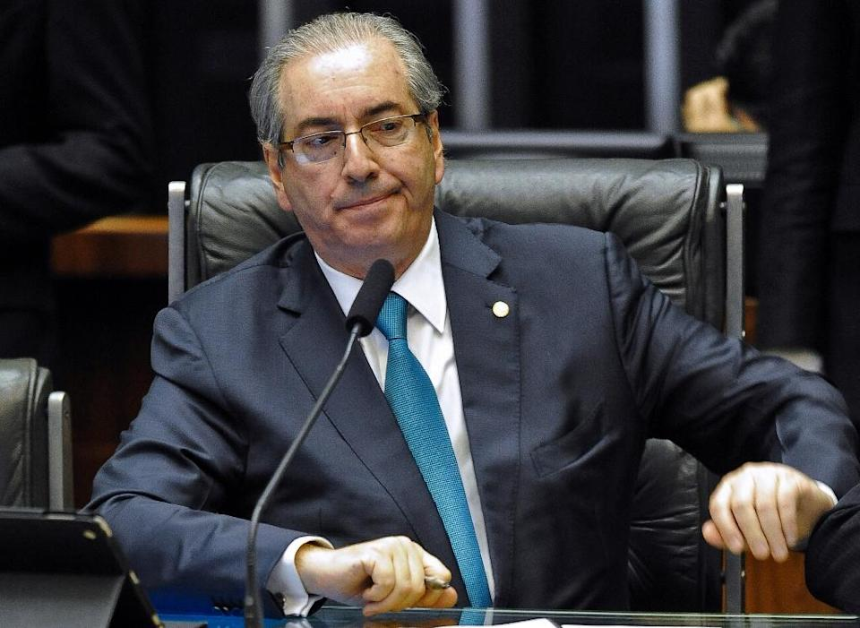 The president of the Brazilian Chamber of Deputies, Eduardo Cunha attends the session of the impeachment request of President Dilma Rousseff at the Chamber of Deputies in Brasilia on December 3, 2015 (AFP Photo/Andressa Anholete)