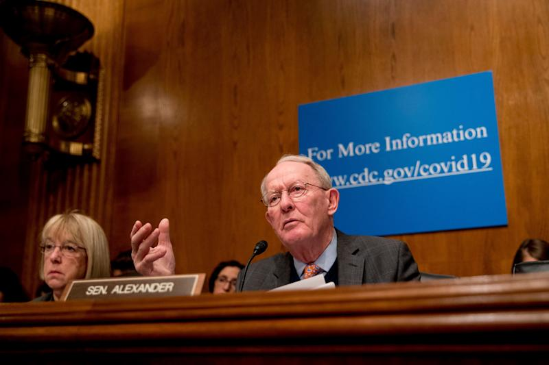 An objection from Sen. Lamar Alexander (R-Tenn.), seen during a March 3 coronavirus hearing on Capitol Hill, blocked an emergency paid sick leave bill sponsored in the Senate bySen. Patty Murray (D-Wash.) left. (Photo: ASSOCIATED PRESS)