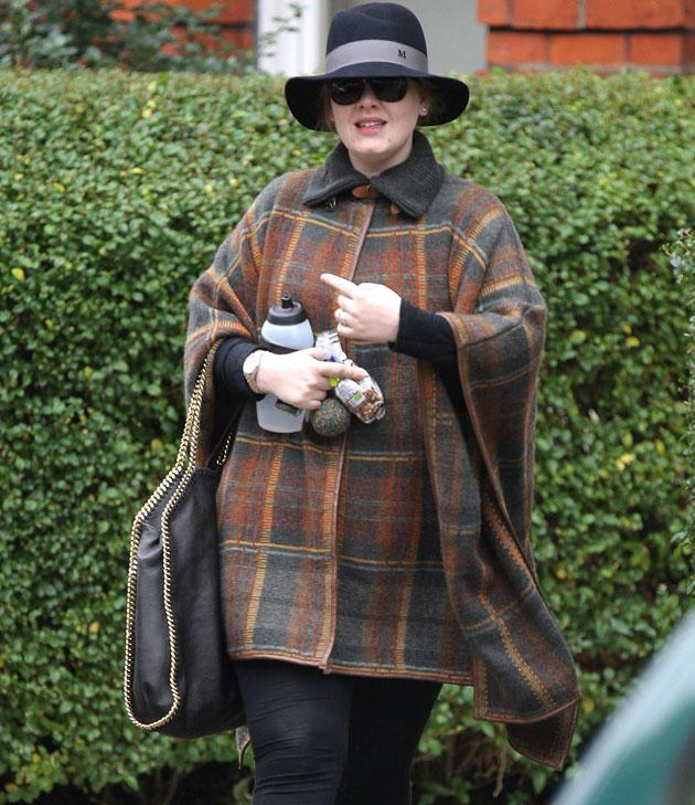 Adele wore a tartan cape - in softer tones