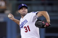 Los Angeles Dodgers starting pitcher Max Scherzer throws to the plate during the first inning of a baseball game against the San Diego Padres Wednesday, Sept. 29, 2021, in Los Angeles. (AP Photo/Mark J. Terrill)