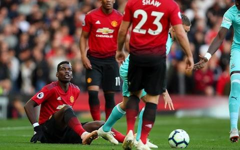 Paul Pogba shouts to Luke Shaw - Credit: Getty Images