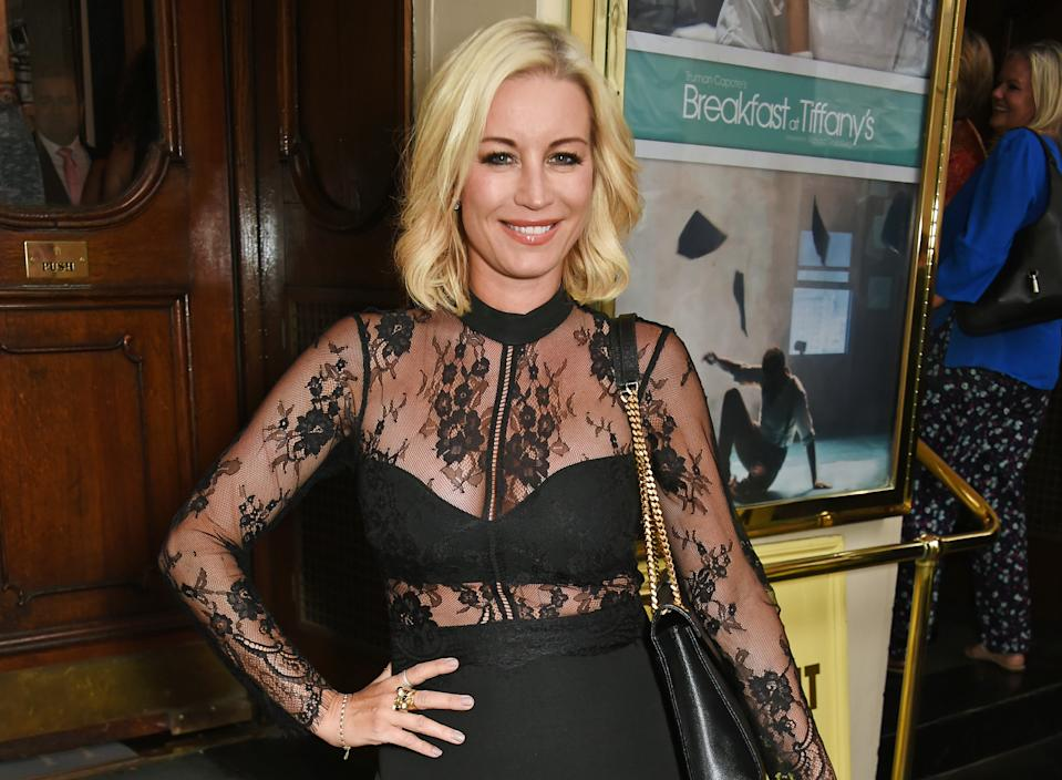 """Denise van Outen arrives at the press night performance of """"Breakfast at Tiffany's"""" at the Theatre Royal Haymarket on July 26, 2016 in London, England.  (Photo by David M. Benett/Dave Benett/Getty Images)"""