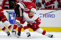 Detroit Red Wings right wing Dominik Shine, right, checks Chicago Blackhawks center Kirby Dach during the first period of an NHL preseason hockey game in Chicago, Wednesday, Sept. 29, 2021. (AP Photo/Nam Y. Huh)