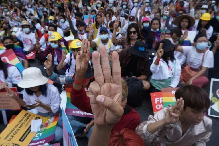 The three-fingered salute from 'The Hunger Games' has become one of the symbols of the protest movement in Myanmar