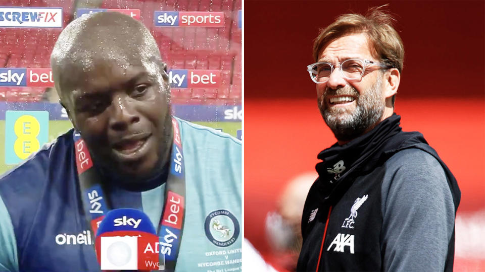 Adebayo Akinfenwa, also known as 'The Beast', made an all-time speech and received a shock from Liverpool coach Jurgen Klopp (pictured right). (Images: Sky Sports/Getty Images)