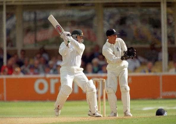Australian cricketer Mark Taylor in action during the 1st Test Match of the Ashes, June 1997. England v Australia at Birmingham. (Photo by Clive Mason/Getty Images)